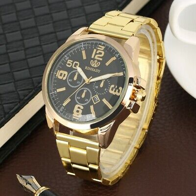 Men Fashion Military Sport Stainless Steel Band Analog Date  Quartz Wrist Watch