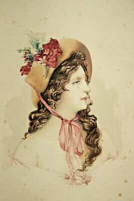 A Beautiful Edwardian Portrait Watercolour, Young Woman in Hat (1 of 3)