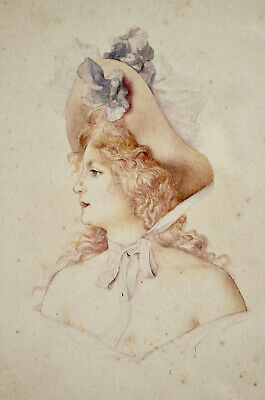 A Beautiful Edwardian Portrait Watercolour, Young Woman in Hat (2 of 3)