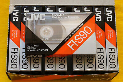10x JVC FI-S 90 Cassette Tapes 1990 + OVP + SEALED + IN BOX +