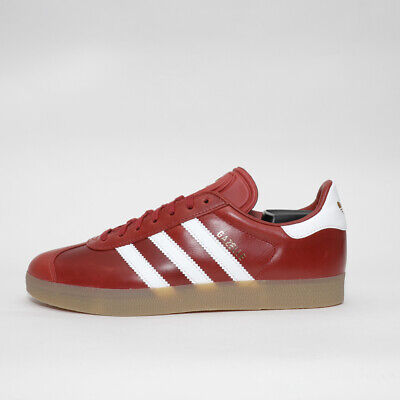 Mens Adidas Originals Gazelle Leather Red/White/Gum Trainers (TGF28) RRP £79.99