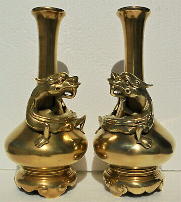CINA (China): Old Chinese pair of bronze vase with dragon