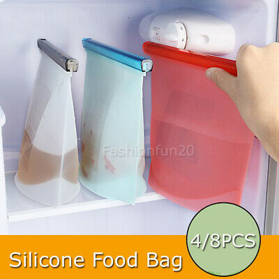 Reusable Silicone Food Preservation Bags Airtight Seal Food Storage Container OZ