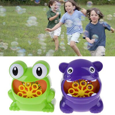Frog automatic bubble machine blower maker party outdoor toy for kids EB