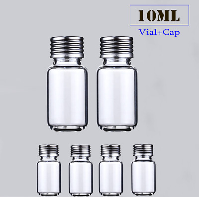 10ml Clear vial*100 18mm screw top,Round bottom +Silver Caps GC Head Space Test