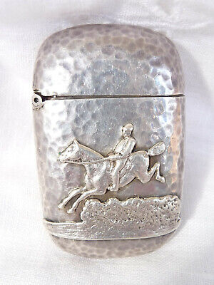 Vintage Hand Beaten Sterling Silver Vesta The Feature Is The Horse Jumping Scene