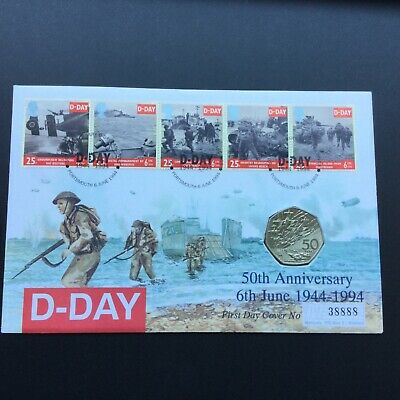 1994 COIN COVER FDC 50th Anniversary of D Day, with 50p, Portsmouth