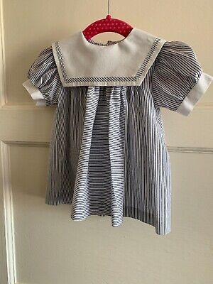 Baby Girls Vintage Striped Sailor Dress Mothercare 60cm 3-6 Months
