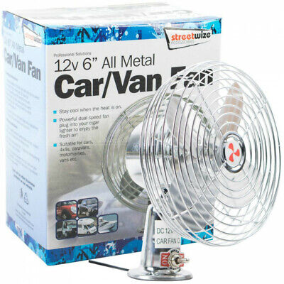 Streetwize 12V Chrome Metal Car Cigarette Plug Cold Air Cooling Fan with 2 Speed