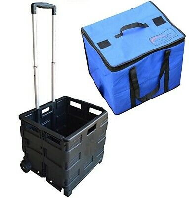 BLACK Portable Camping Travel Folable 40kg Box Trolley with Picnic Cooler Bag