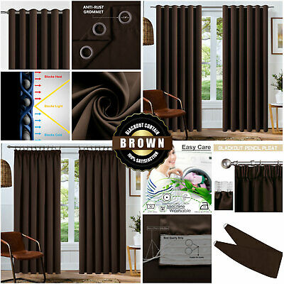 Thermal Blackout Chocolate Brown Curtains Eyelet/Ring Top OR Pencil Pleat + Ties
