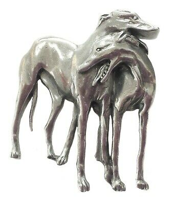 Pewter pair of greyhounds brooch