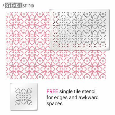 Whitminster Tile Repeat STENCIL. Reusable Pattern. Painting Floor & Wall. 10732