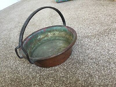 handmade arts crafts copper pot Pan with hand forged handle