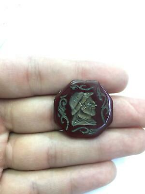 Genuine Antique Old Natural Agate Stamp Seal Engraved Intaglio Bead Gemstone