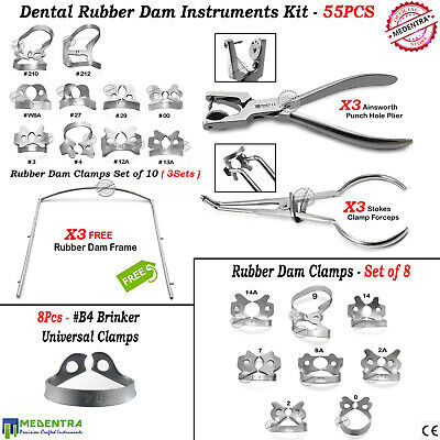 MEDENTRA® 55Pcs Dental Rubber Dam Tools Kit Ainsworth Stokes Rubber Clamps Frame