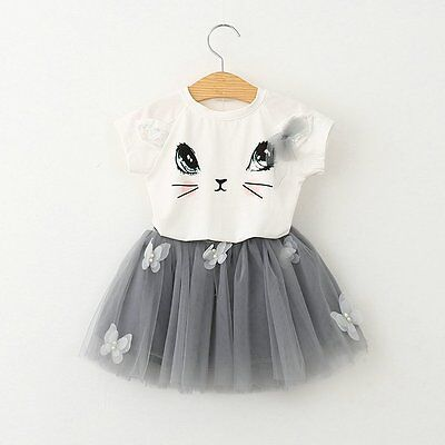 Toddler Kids Baby Girls Summer Outfits Clothes T-shirt Tops+Skirt Dress 2PCS Set