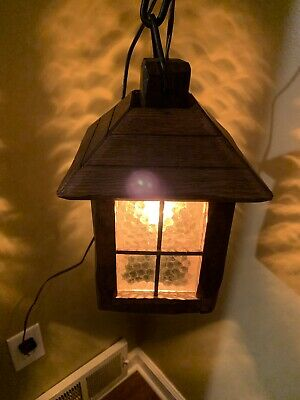 Antique Arts Craft Pendant Light Glass Mission Style Prairie  Gothic Hanging