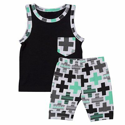 2pcs Toddler Kids Baby Boy T-shirt Tops+Casual Pants Trousers Clothes Outfit Set