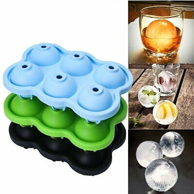 6 Ice Ball Maker Round Sphere Tray Mold Cube Ball Cocktails Silicone for Whiskey