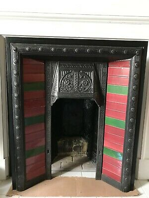 Set of 30 antique tiles for Victorian Edwardian Cast Iron Fireplace