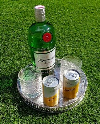 """10"""" round vintage silver plated drinks chased gallery serving tray cocktails"""