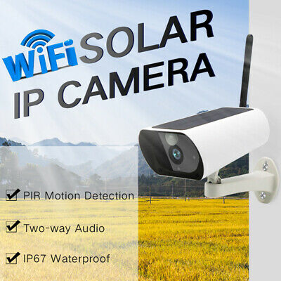 Wireless IR Solar Power WiFi IP Camera 1080P HD Security Surveillance Audio CCTV