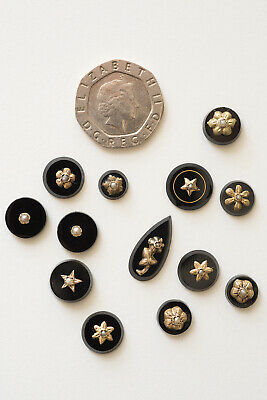 13 Antique Victorian Black Glass Onyx Cabochons Etched Yellow Gold & Seed Pearls