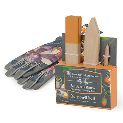 Burgon & Ball - RHS Passiflora Gloves with RHS Passiflora Wooden Plant Labels