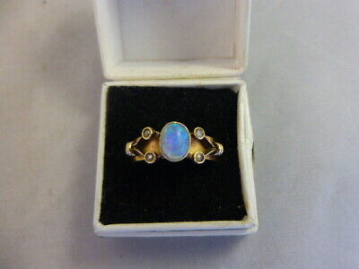 Antique Arts and Crafts 18 Ct Gold and Opal and Seed Pearl Ring 1909 Size 'O'