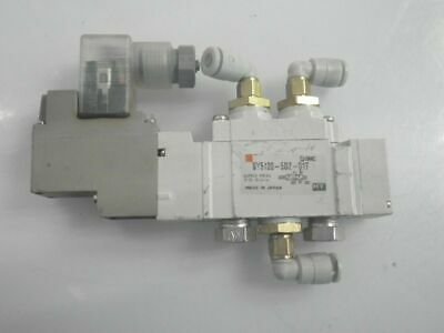 SY5120-5DZ-01T SMC Solenoid Valve ,5 port 24vdc+Extra's 3 Pushin (Used Tested)