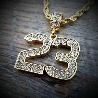 2b1a7a1a7 Hip Hop Iced Fashion Gold Plated Number 23 Pendant & 4mm 24