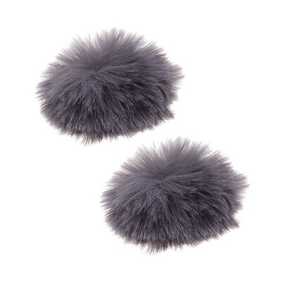2xGray Fur Microphone Windscreen Windshield Muff Reduce Wind Noise Mic Cover