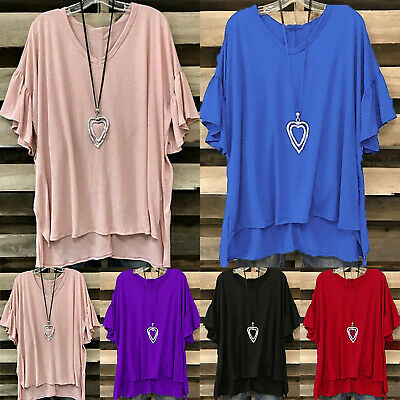 Women Oversized Baggy Top Ladies Loose Fit Batwing Sleeve V Neck T Shirt Summer