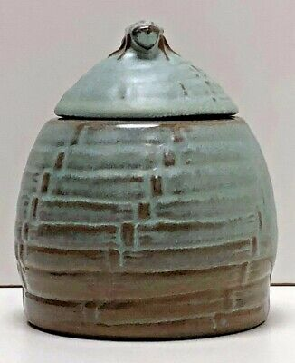 Vintage Frankoma Pottery Honey Pot With Lid Marked 803 Woodland Moss Bee Hive