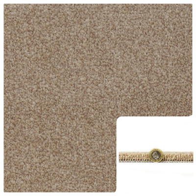 SOFT 12mm Thick Brown Beige Saxony Carpet Action Back 4m Wide Remnant/Roll End
