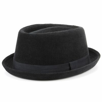 Pork Pie Hat Corduroy New Black Grosgrain Winter Breaking Bad Retro Hawkins