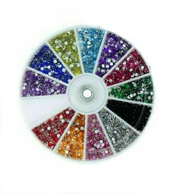 6000 pcs NAIL ART DECORATION RHINESTONES 12 COLOURS ROUND GEMS 2MM FREE PICKER