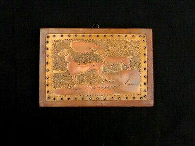 Vintage Hammered Copper on Wood Plaque Wall Art. Two Dogs. Hounds. Exceptional