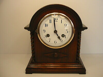 Antique Oak Striking Mantle Clock