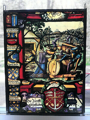 Vintage German Stained Glass Panel Winemakers Winzer Scene