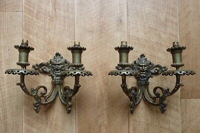 Pair of antique French cast brass wall light sconces, adapted for electric light