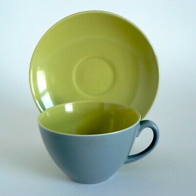 Poole Pottery Lime Yellow & Moonstone Grey Teacups & Saucers Duos Twintone C102