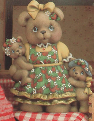 """Ceramic Bisque Hand-Painted Mama Strawberry Teddy Bear Girl, 10 1/2"""" Tall X 8"""" W"""