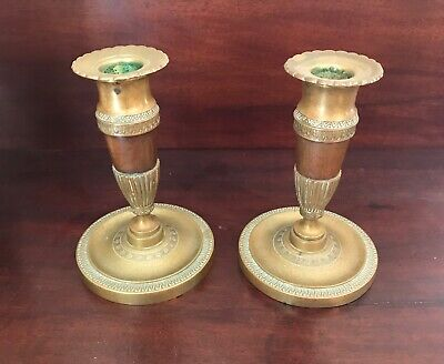 Pair Antique 19th Century Brass French Empire Candlesticks Lighting Candle Stick