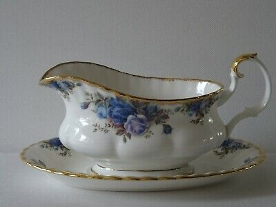 Royal Albert Moonlight Rose Gravy Boat With Underplate Bone China England