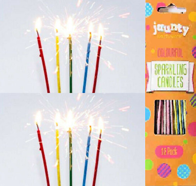 Sparkling Candles 18 x Long Colour Decorations Birthday Cakes Party Wedding
