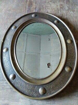 Arts & Crafts Hammered Brass Porthole Style Oval Mirror