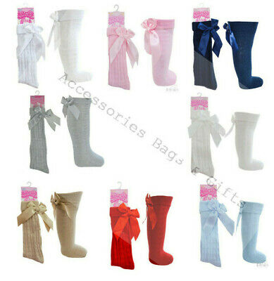 New Baby Girl Bow Knee Socks Hearts Spanish Ribbed White Pink Soft Touch 0-24Yrs