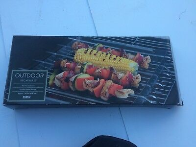 Bbq Stainless Kebab Skewers Set &Holder Utensil Outdoor Camping Cooking Barbecue